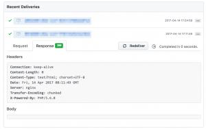 GitHub Webhook setting screen